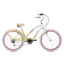 Ks Cycling - Beachcruiser 26'' Paradiso blanc-vert 6 vitesses Tc 42 cm