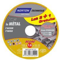 Norton - Lot De 3 + 1 Disques Score 100 MÉTAL 125 X 1,6 X 22,3 Mm