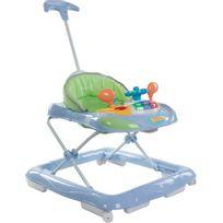 Sun Baby - Trotteur interactif avec poussoir et volant pour bébé 6-12 mois | Bleu et Vert