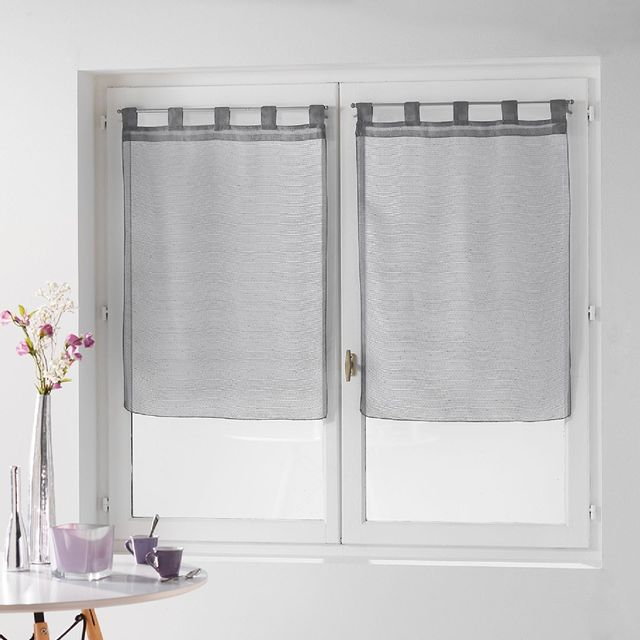 douceur d 39 interieur une paire de rideau voilage 60 x 120 cm coupe dandy gris pas cher achat. Black Bedroom Furniture Sets. Home Design Ideas