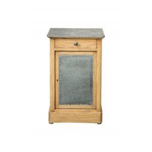 decoshop petit meuble d 39 appoint en bois et m tal brun pas cher achat vente chevet. Black Bedroom Furniture Sets. Home Design Ideas