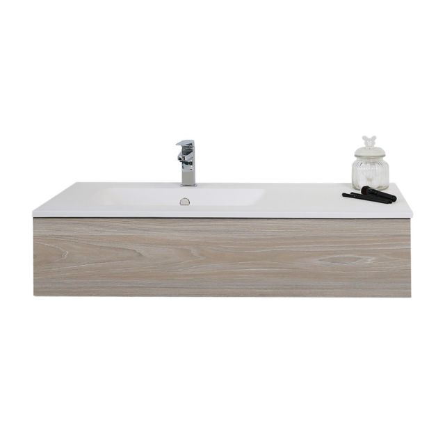 Meuble suspendu 90 cm + vasque solid surface, Heden finition bois
