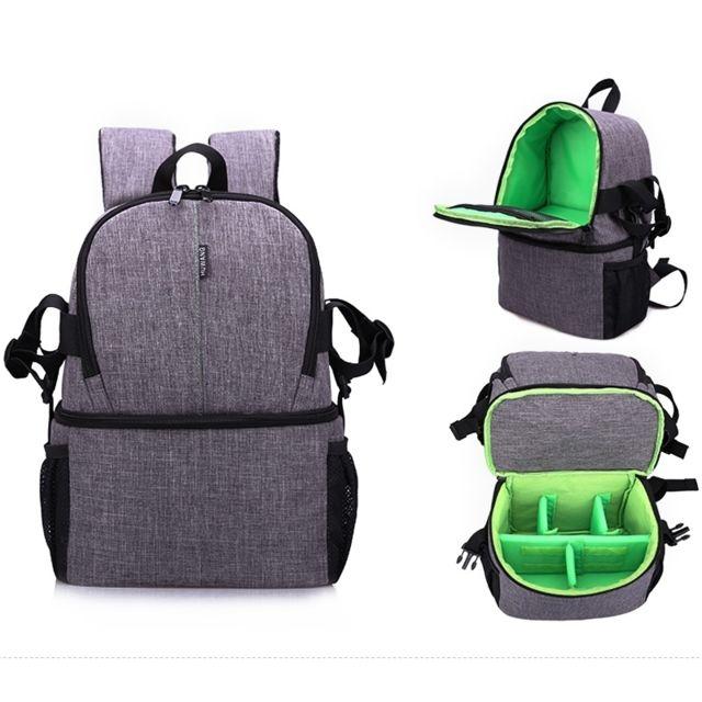 info pour c9485 37f92 Multi-fonctionnel imperméable à l'eau en nylon sac à dos sac à dos  rembourré antichoc sacoche pour Nikon Canon DSLR appareils photo vert