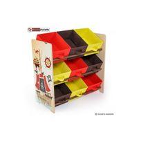 Homestyle4U - Etagere Coffre à jouets 9 boites de rangement Pirate