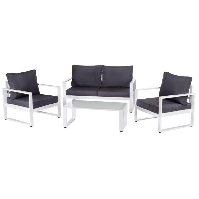 Ma Maison Mes Tendances Salon de jardin 5 places en aluminium blanc et coussins gris + table basse Avila - L 142 x l 71 x H 72