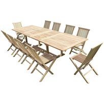 Teck'LINE - Ensemble de jardin en teck premium Kirang 10 chaises Jenae