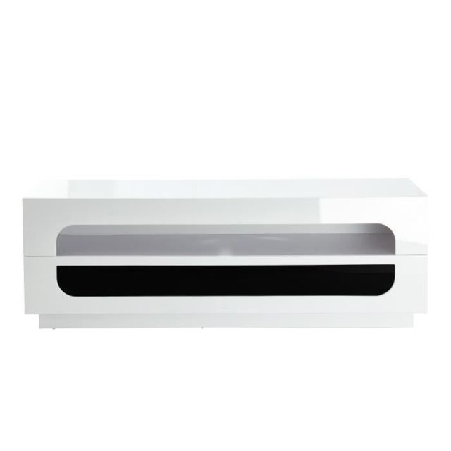 MEUBLE TV - MEUBLE HI-FI ANGEL Meuble TV bas contemporain blanc laqué brillant - L 150 cm