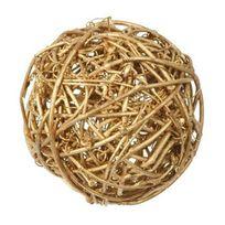 1001DECOTABLE - Assortiment de boules de rotin or