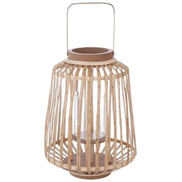 """Paris Prix - Lanterne Design """"Rattan"""" 35cm Naturel"""