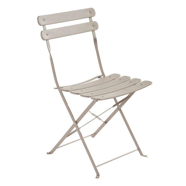carrefour chaise bistrot pliante taupe pas cher achat vente chaises de jardin. Black Bedroom Furniture Sets. Home Design Ideas