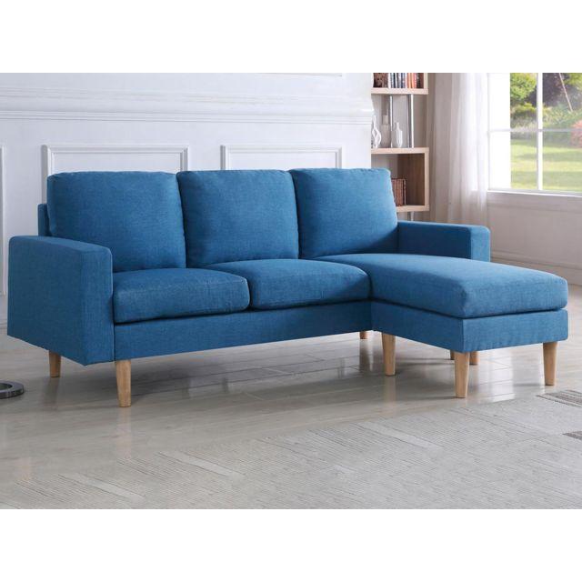 HABITAT ET JARDIN - Canapé d angle réversible Gino - 3 Places - Bleu ... a020ba0afe0c