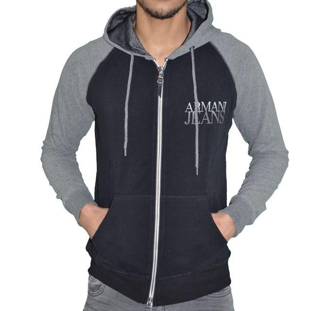 Armani - Jeans - Veste Sweat Zippé à Capuche - Homme - Aj Hoodie 02 - Noir Gris  Chiné - pas cher Achat   Vente Blouson homme - RueDuCommerce 6fca3d822568