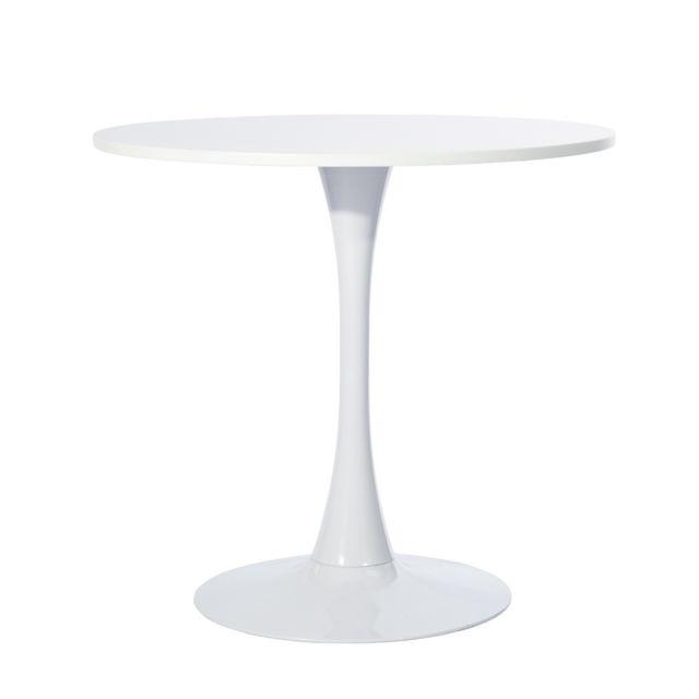 Mobilia Table à manger ronde blanc 4 places