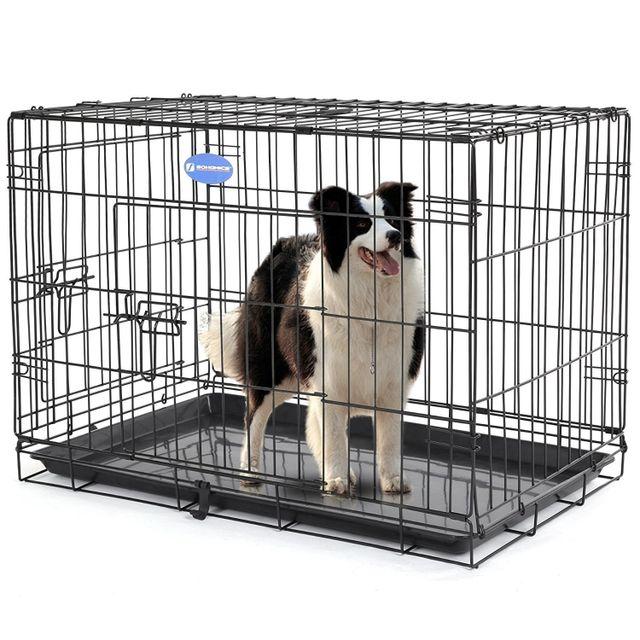 rocambolesk superbe 2 portes cage pour chien pliable et transportable avec poign e et plateau. Black Bedroom Furniture Sets. Home Design Ideas