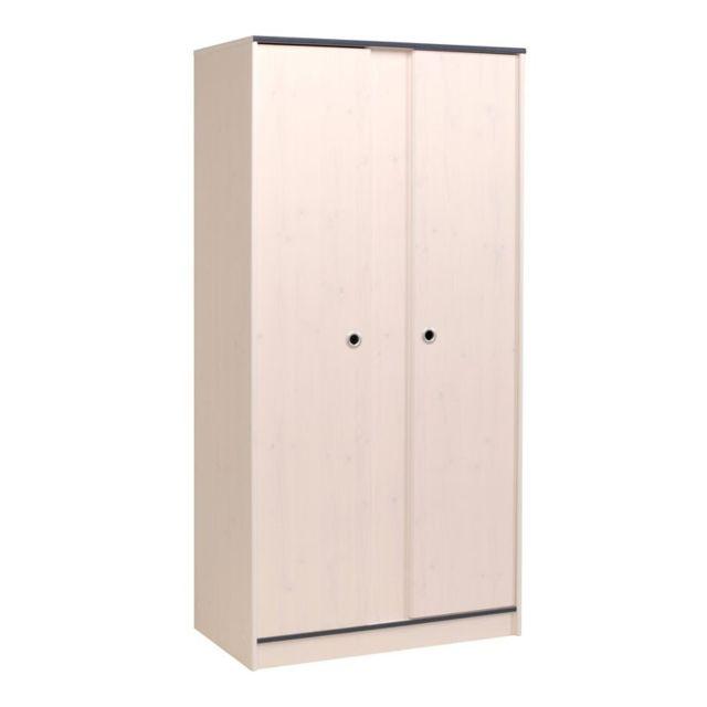 Tousmesmeubles Armoire 2 portes Pin Blanc - Oggy - L 91 x l 51 x H 182