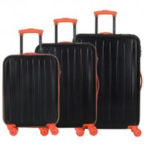 David Jones - Lot de 3 valises bagage rigide - 4 Roues - Orange