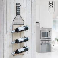 - Porte-bouteilles en bois et métal à fixation murale - Range bouteille original bin champagne Design - Amoureux du Vin