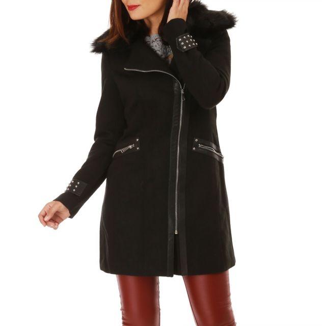 Lamodeuse - Manteau noir mi-long à col en fausse fourrure - pas cher ... 7338ee75df2