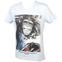 Mzgz - Tee shirt manches courtes The chimp singe ciel Bleu 34577
