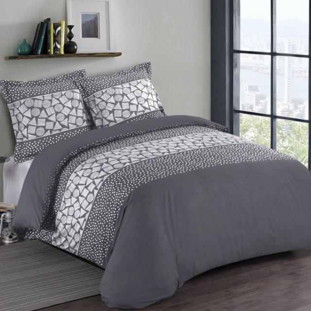 100pourcentcoton housse de couette 200x200cm 2 taies d 39 oreiller 65x65 arthur vs pas cher. Black Bedroom Furniture Sets. Home Design Ideas