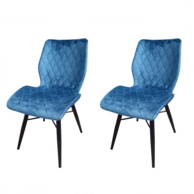 Zons Lot de 2 chaises de salle a manger capitonnées Bleu