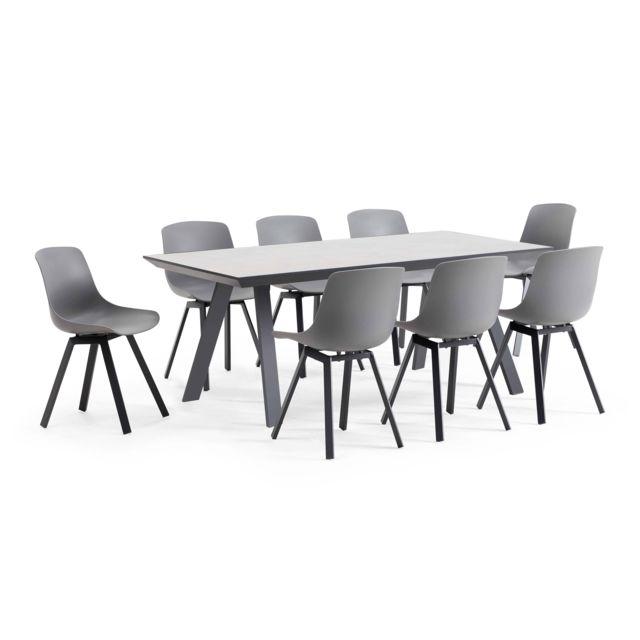 Salon de jardin scandinave, 1 table plateau céramique, 8 chaises - Gris