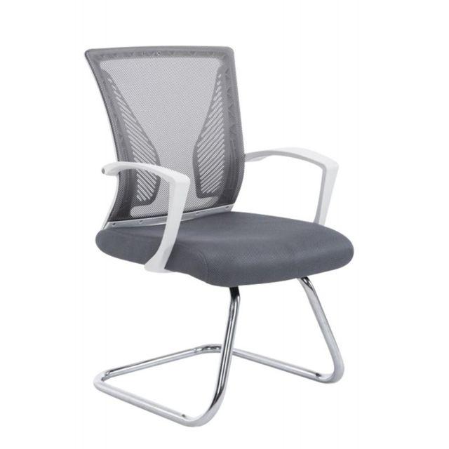 Decoshop26 Fauteuil Chaise De Bureau Sans Roulette Gris Tissu Et