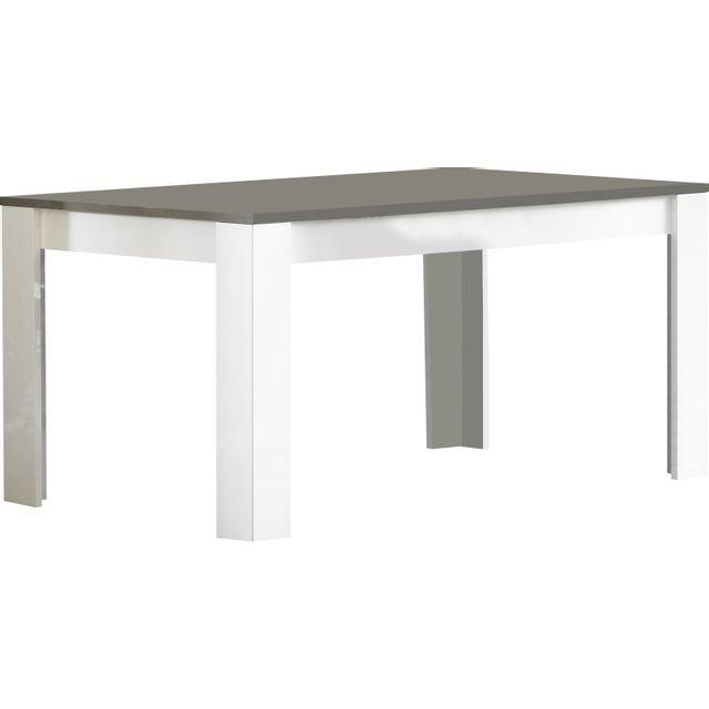 comforium table manger laqu e brillante de 160cm coloris blanc et gris pas cher achat. Black Bedroom Furniture Sets. Home Design Ideas