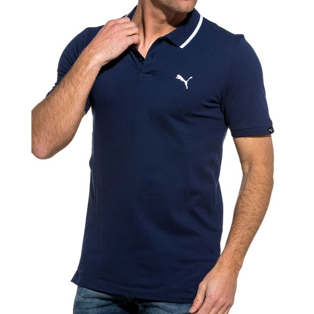 Puma Polo homme bleu navy contrasté blanc pas cher Achat