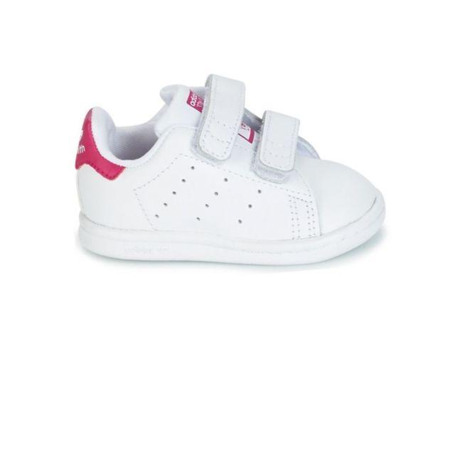 36be63d97ce06 Adidas - Chaussure Stan Smith bébé - Blanc Rose - pas cher Achat ...