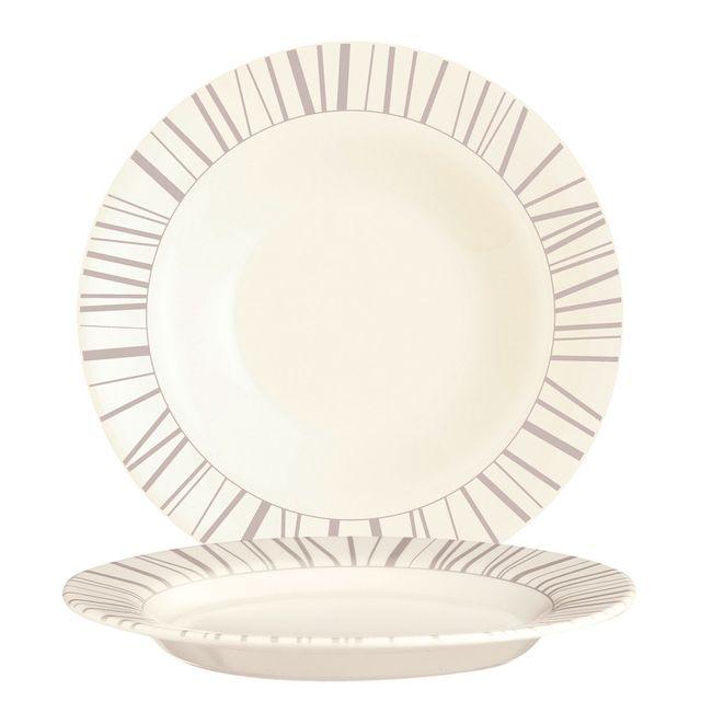 Arcoroc Assiette creuse ronde 22cm beige en zenix avec motifs baguette taupe - Intensity
