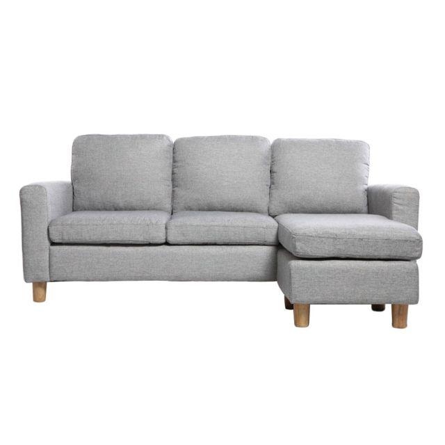 MILIBOO Canapé d'angle réversible design gris ALAMO