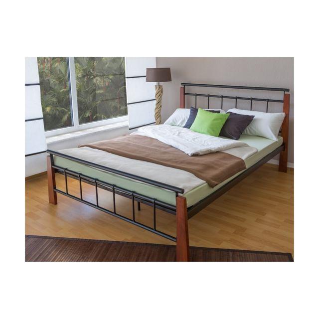 homestyle4u design metal lit double 160 x 200 cadre de lit lattes bois neuf noir brun pas. Black Bedroom Furniture Sets. Home Design Ideas