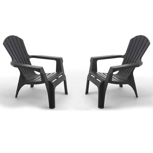 wilsa lot de 2 fauteuils de jardin adirondack anthracite gris pas cher achat vente. Black Bedroom Furniture Sets. Home Design Ideas