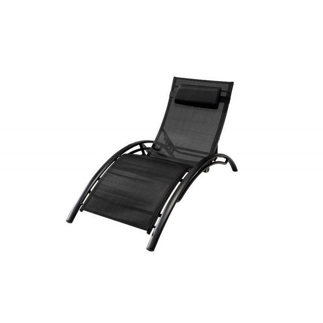 Ma Maison Mes Tendances Transat multi-positions structure en aluminium Noire, textilène Noir Venisia - L 66 x l 179 x H 30