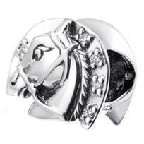 So Chic Bijoux - Charm Perle Fer à Cheval & Tête Cheval Porte Bonheur Oxyde de Zirconium Blanc Argent 925 - Compatible Pandora, Trollbeads, Chamilia, Biagi
