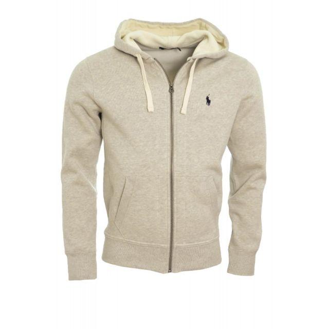 8253efd8ed86 Ralph Lauren - Sweat à capuche zippé gris pour homme - pas cher Achat    Vente Pull homme - RueDuCommerce
