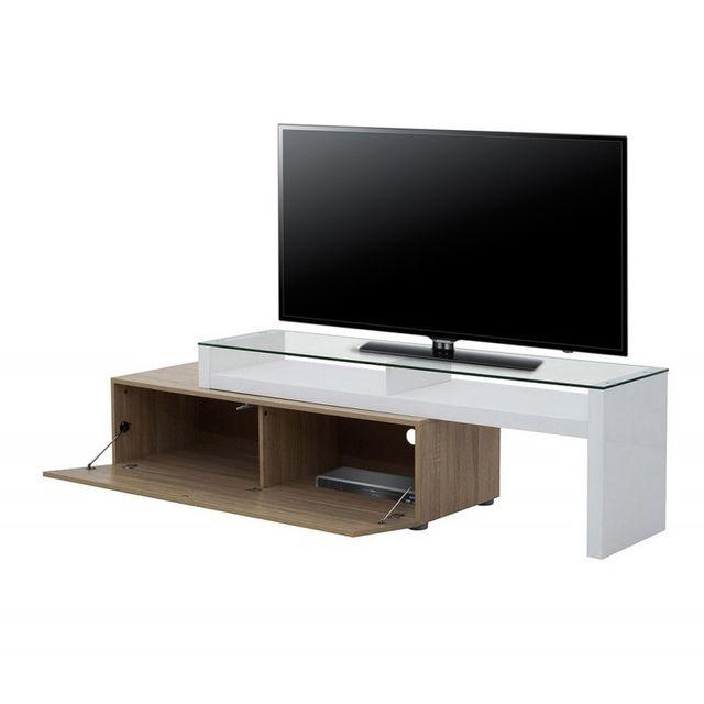 Beaux Meubles Pas Chers Meuble Tv Blanc et Chêne Modulable Panneaux épais