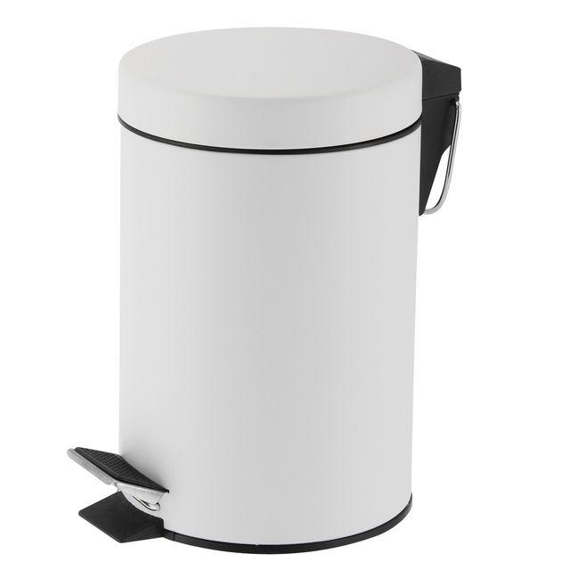 CARREFOUR Poubelle à pédale 3 L en inox - Blanc - KB7392S.319