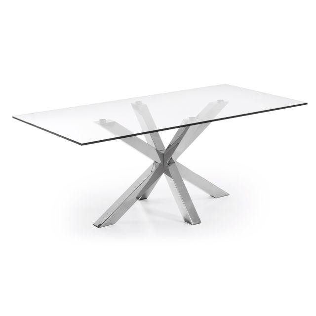 Kavehome Table Argo 200x100 cm, inox et verre