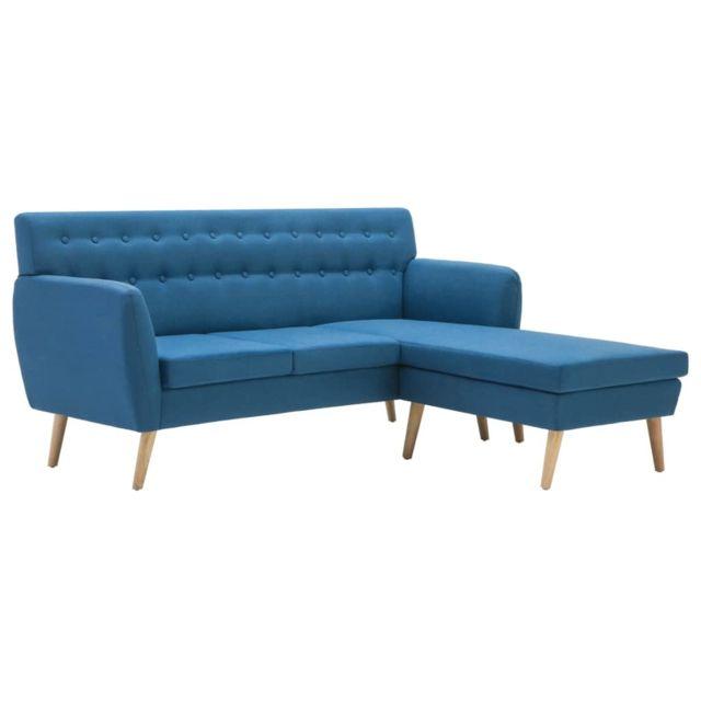 Icaverne - Canapés reference Canapé d'angle Revêtement en tissu 171,5x138x81,5 cm Bleu