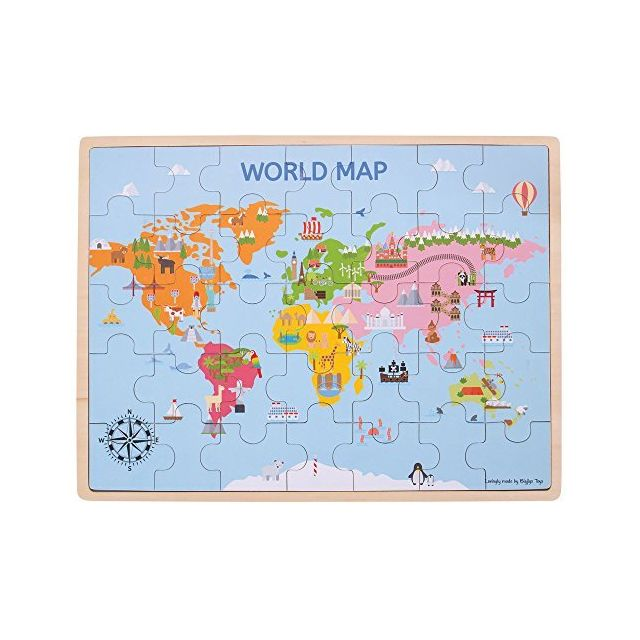 Bigjigs Toys Wooden World Map Puzzle 35 Piece, Multicolored