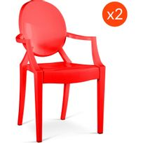 Privatefloor - Lot de 2 Fauteuils Louis Ghost Philippe S. Style Rouge