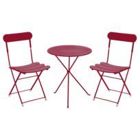 Oasi by Emu - Salon de jardin 2 places Acier : table ronde 60cm + 2 chaises pliantes Gueridon