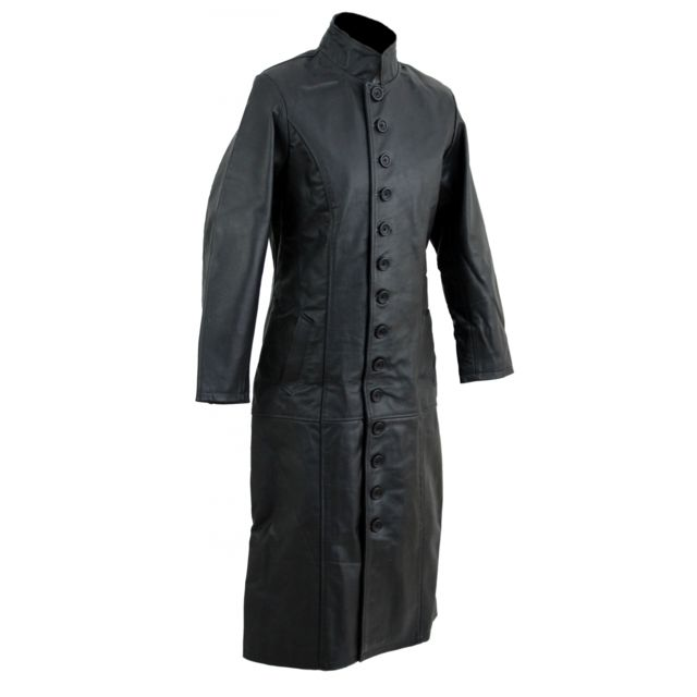 KARNO-MOTORSPORT Kc019 Manteau long cuir noir KARNO style matrix gothique