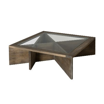 Table basse plateau vitré 100 x 100 x 38 cm Hambourg - marron