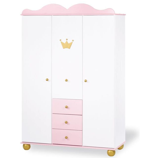 Comforium Armoire 198 cm à 3 portes et 3 tiroirs design princesse en bois massif coloris blanc et rose