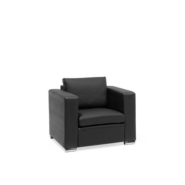 BELIANI Fauteuil en cuir noir HELSINKI - noir