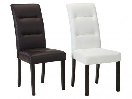 Marque Generique Lot de 2 chaises Taddeo - Synderme blanc- Pieds bois