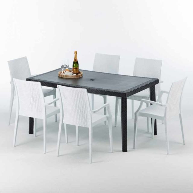 Grand Soleil Table rectangulaire et 6 chaises Poly ro